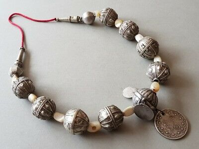 ANTIQUE Yemen SILVER handmade NECKLACE with mother of pearl +OTTOMAN silver coin