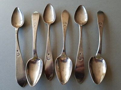 SET 6 ANTIQUE & ORIGINAL OTTOMAN STERLING SILVER spoons WITH SULTAN TUGHRA