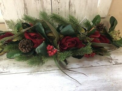 New With Tags Homco Home Interiors Red Rose , Pinecone Greenery Swag