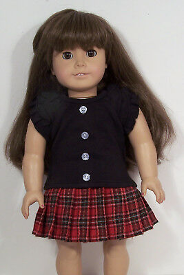 "Skirt ONLY Debs BURGUNDY Floral Skirt Doll Clothes For 18/"" American Girl"
