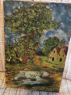 Antique French Landscape Oil Painting, canvas stretched on board
