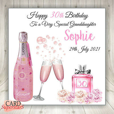 """Personalised PINK CHAMPAGNE Birthday Card Daughter Friend,18th,21st,30th 6"""" & 8"""""""