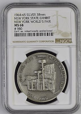 1964-65 World's Fair New York Exhibit Pavilion High Relief Silver Medal MS68 980