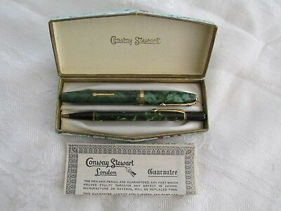 Boxed Vintage Conway Stewart Fountain Pen and Pencil Set ?  Marbled Green