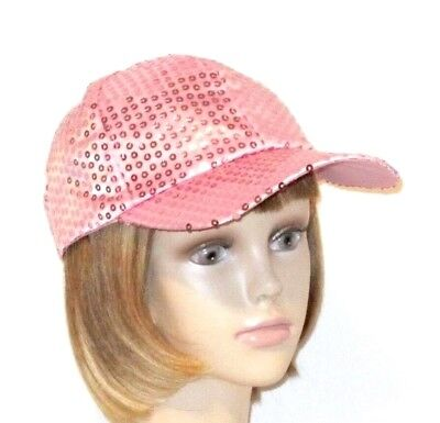 105f0c58b9e RED SATIN SEQUIN Baseball Cap Hat Fully Lined Society Ladies -  8.79 ...