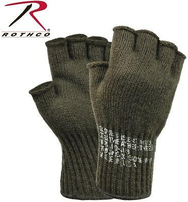 Fingerless Wool Gloves Olive Drab G.I. Military MADE IN USA Rothco 8410