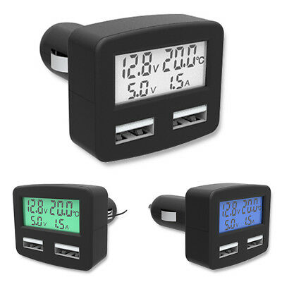 5in1 DC 5V 3A Car Auto Dual USB Phone Charger LCD Temperature Display Universal