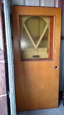 Vintage Exterior Door Solid Wood Door With Yellow Glass Approx  36 X 79 Can Ship