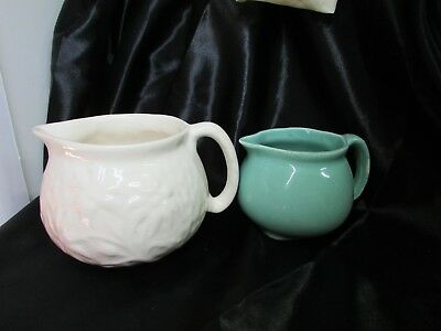Old Australian Pottery Jugs Cream With Flannel Flowers And A Blue Glaze
