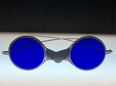7d84177806a Vtg AO Safety BLUE EYEGLASSES GOGGLES ANTIQUE SUNGLASSES STEAMPUNK NOS WWII  ROD