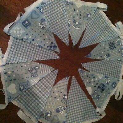 2m Blue Picture check Fabric Babies Bunting. 12 Flags ideal for Nursery/Playroom
