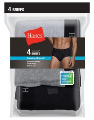 Hanes Men's FreshIQ™ ComfortBlend® Black/Grey Briefs 2XL-4XL 4-Pack
