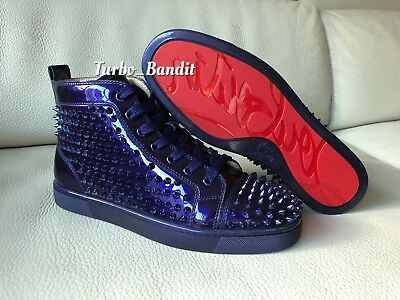 3ed0fd7ada0a Authentic  1250 Christian Louboutin Louis Purple Patent Spike Sneakers  Trainers