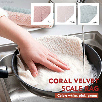 54BD Dish Towel Reusable Kitchen Cleaning Cloth 2pcs Coral Fleece Sink