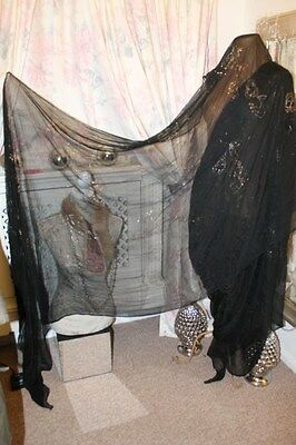"1920s black silk assuit sari - Ditsy Vintage Antique 42"" x 208"" art deco shawl?"