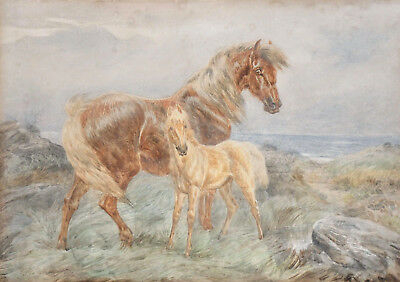 c1872, BASIL BRADLEY, ANTIQUE 19thC ORIGINAL WATERCOLOUR PAINTING, EQUESTRIAN