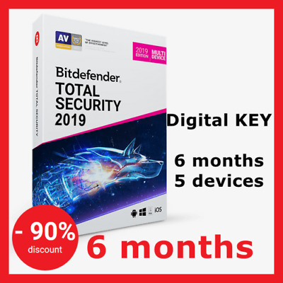 Bitdefender TOTAL SECURITY 2018-2019 | Multi-Device | 6 Months | 5 devices | Key