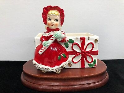 """Vintage RELCO 1950's Spaghetti Trim Girl with Candy Cane 4.5""""x 4.5""""Planter Japan"""