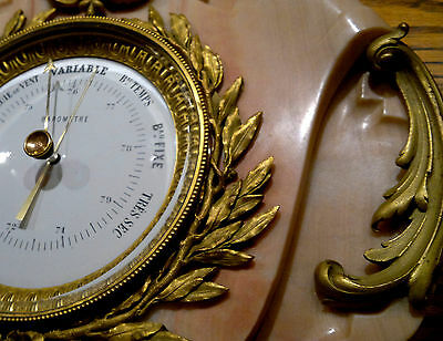 """Antique French Louis XVI Style Ormolu Pink Marble Wall Barometer 24.5""""Tall"""
