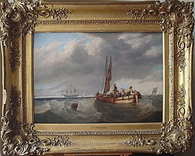 Tender to t-Class Ship in Heavy Seas Oil Painting James Wilson Carmichael c1830