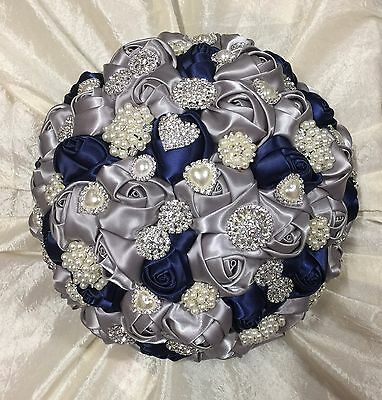 New Large Bespoke Design Navy Blue/Silver Roses Brooch Brides Wedding Bouquet