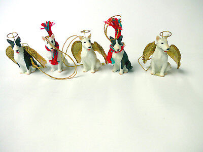 English Bull Terrier White Brindle Ornament Figurine Statue Angel Scarf Lot of 5