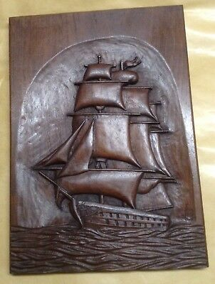 CARVED SHIP WOODEN PLAQUE, Signed And Dated 1946.