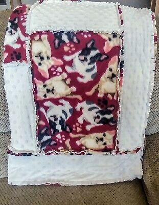 FRENCH BULLDOG/FRENCHIE Handcrafted Ragged Fleece Lap Blanket/Quilt