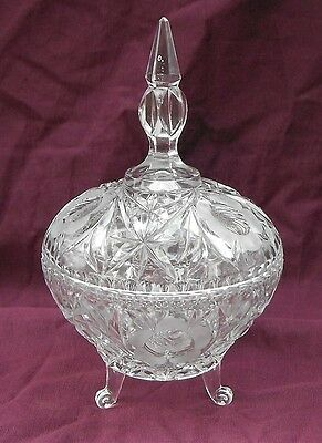 OLD Beautiful Clear Pressed Glass footed Candy dish w/ Spire lid Flower Pattern