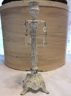VTG Shabby Cottage cHic White Chippy Paint CastIron Candle Holder Crystal Prisms