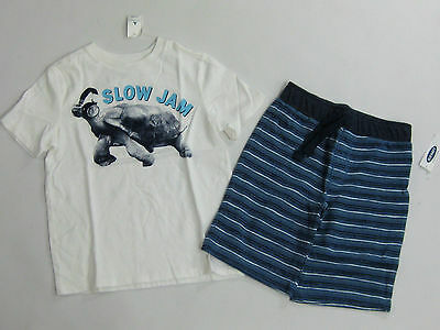 NWT Boys Baby Gap Size 4t Slow Jam Turtle Shirt & Old Navy Striped Shorts