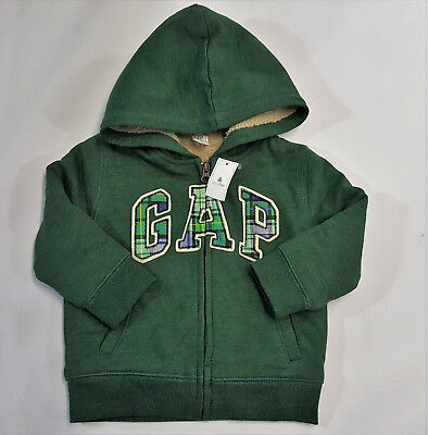 NWT Baby Gap Boys Size 12 18 Months Green Plaid Logo Sherpa Lined Hoodie Jacket