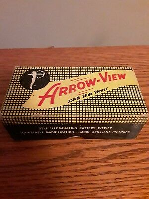 ARROW-VIEW~35mm TABLE SLIDE VIEWER~VINTAGE MARBLE~ILLUMINATED&MAGNIFIED~ART DECO