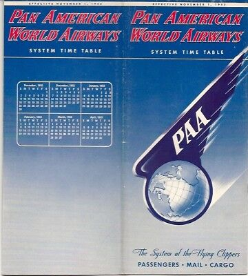 Pan American World Airways System Timetable November 1952 Am Paa