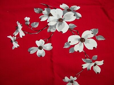 Vintage Widendur Tablecloth 4 Napkins Printed Red w White Dogwood Blossoms TC72
