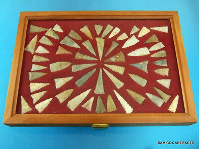 Framed Group of 56 Super Fine Authentic Kentucky Triangular Arrowheads Points