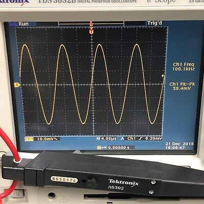 Tektronix A6302 20 A AC/DC Current Probe DC-50 MHz, S/N B050376 Works Perfectly!