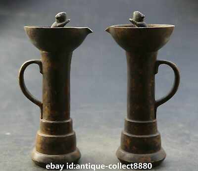 """7.5"""" Antique Chinese Bronze Ancient Mouse Mice Animal Candle Stick/Oil Lamp Pair"""