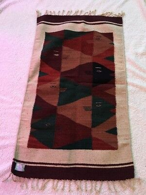 Southwestern 100% Wool Hand Woven Rug Tapestry Wall Hanging Navajo 38X22 Vel Mex