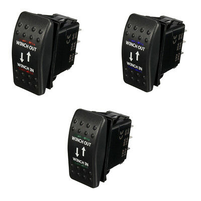 12V 20A Winch In Winch Out ON-OFF-ON Rocker Switch 7 Pin LED blue U7F1