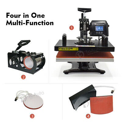 4 in 1 Combo Heat Press Machine Transfer Sublimation T-Shirt Mug Hat 12'' x 15''