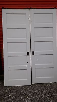 Vintage Pocket Doors 5 Foot With Track And Rollers We Ship!!!!!!!!