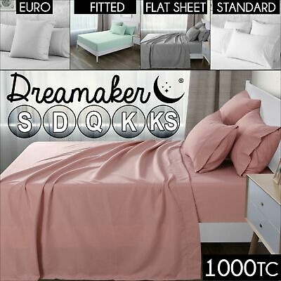 1000TC Ultra SOFT Flat Fitted Pillowcase Sheet Set Bed Microfiber Euro 5 Colours