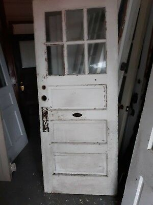 VINTAGE EXTERIOR DOOR COMES WITH A BELL approx 32 x 79 WE SHIP!!