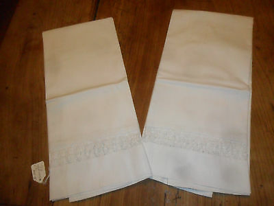 """Vintage Pair of LARGE 36"""" Pillowcases All White & White Embroidered Open Work"""