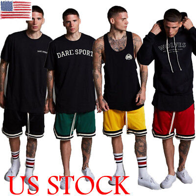 US Mens Athletic Jersey 2 Pocket Mesh Shorts Gym Workout Basketball Fitness