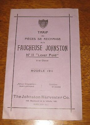 * catalogue machine agricole johnston harvester 1911