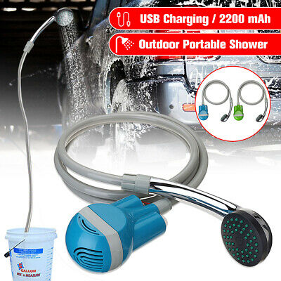USB Wireless Portable Rechargeable Shower Water Pump Nozzle Camp Travel
