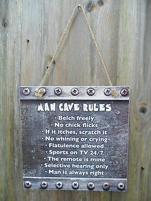 Wood Wooden Man Cave Rules Hanging Sign Wall Door Plaque Novelty Mens Gift