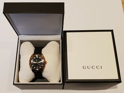 ec44bc2cf9b Gucci Unisex GG2570 Rose Gold Plated   Black Leather Strap Watch YA142407
